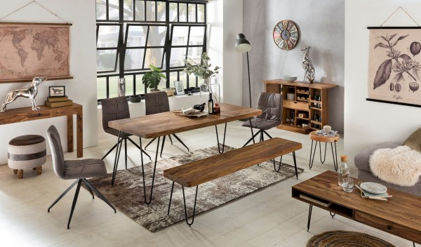 WOHNLING Esstisch BAGLI Massivholz Sheesham 160 cm Esszimmer-Tisch Holztisch Metallbeine Küchentisch
