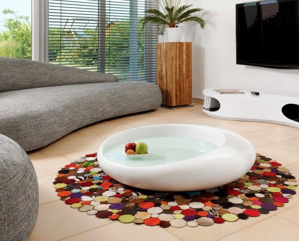 Design Couchtisch 100x100x25 cm weiß Fiberglas