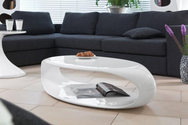 Design Couchtisch 120x60x30 cm weiß Fiberglas