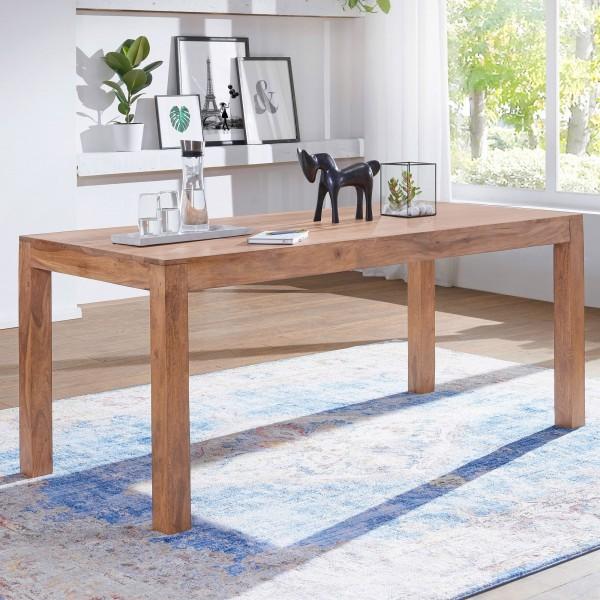 WOHNLING Esstisch Massivholz MUMBAI Akazie 120 cm Esszimmer-Tisch Holztisch Design Küchentisch