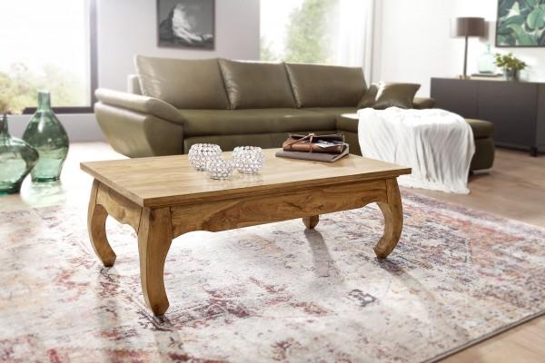 WOHNLING Couchtisch OPIUM Massiv-Holz Akazie 110 cm breit Wohnzimmer-Tisch Design Natur-Produkt