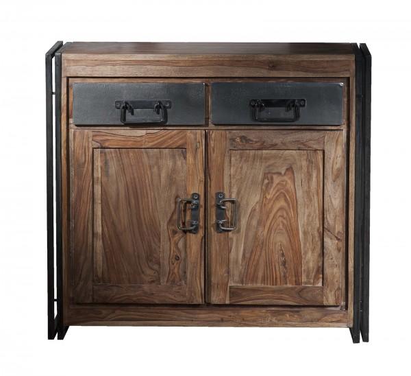 SIT Möbel Panama Kommode   2 Türen, 2 Schubladen   Akazie natur   Altmetall antikschwarz   B 100 cm