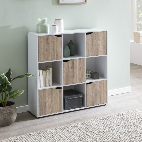 WOHNLING Sideboard SAMO 89 x 91 x 29 cm Bücherregal mit 9 Fächern Sonoma | Standregal mit 5 Türen |