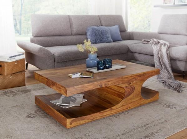 WOHNLING Couchtisch BOHA Massiv-Holz Sheesham 118 cm breit Wohnzimmer-Tisch Design dunkel-braun Land