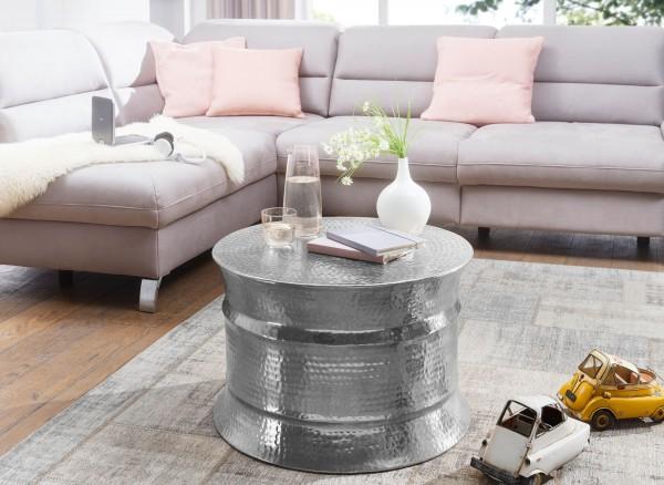 WOHNLING Couchtisch KARAM 62x41x62cm Aluminium Silber Beistelltisch orientalisch rund | Flacher Hamm