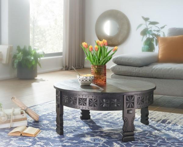 Wohnling Design Couchtisch 80x36x80 cm Mango Massivholz Sofatisch Rund Schwarz