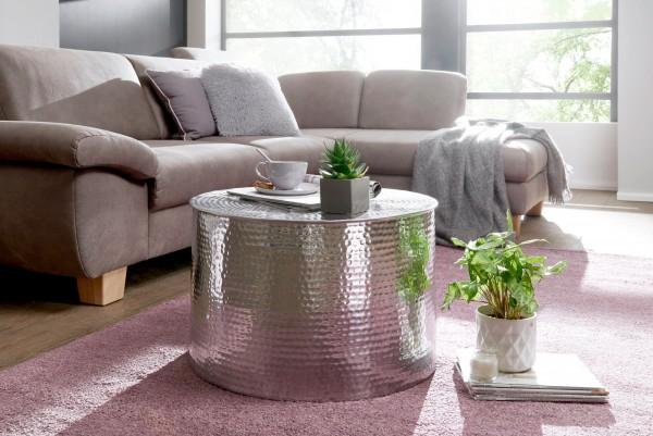 WOHNLING Couchtisch RAHI 61 x 40,5 x 61 cm Aluminium Silbern Beistelltisch Orientalisch Rund