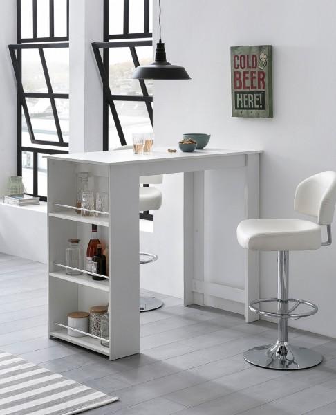 WOHNLING Bartisch 120 cm Stehtisch Holz Küchenbartisch Weiß