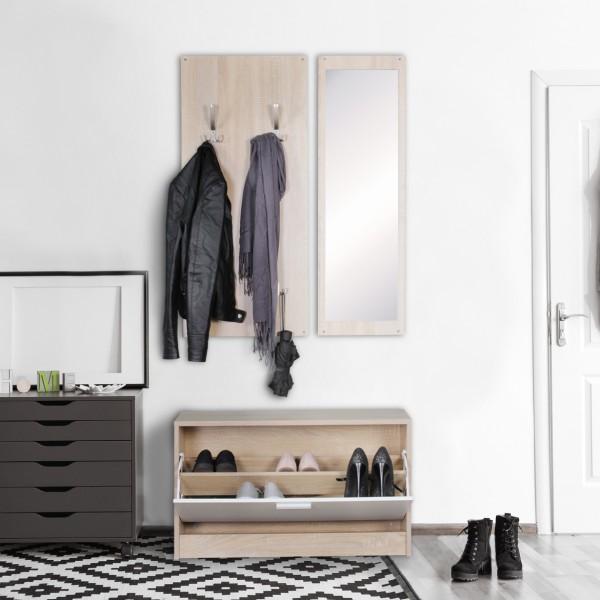 WOHNLING Wand-Garderobe mit Spiegel & Schuhschrank Spanplatte sonoma
