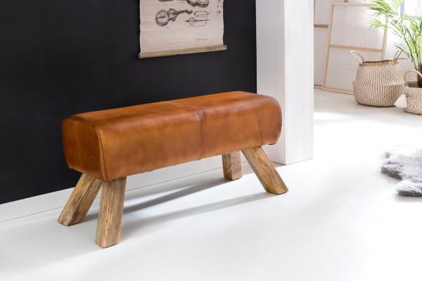 Design Sitzhocker Holz 90x30x43 cm Leder Modern Springbock