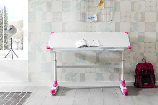 WOHNLING Design Kinderschreibtisch WL5.759 Holz 119 x 67 cm Pink/Weiß Maltisch