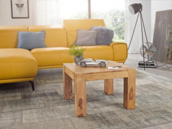 WOHNLING Couchtisch MUMBAI Massiv-Holz Akazie 60 cm breit Wohnzimmer-Tisch Design braun