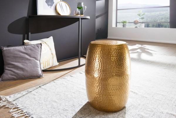 WOHNLING Beistelltisch PEDRO 30x49,5x30cm Aluminium Gold Dekotisch orientalisch rund | Hammerschlag