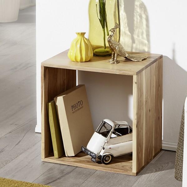 WOHNLING Standregal Massivholz Akazie 43,5 cm Cube Regal Design