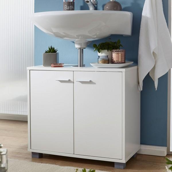 WOHNLING Design Waschbeckenunterschrank 60 cm mit 2 Türen Weiß