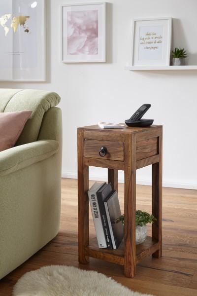 WOHNLING Beistelltisch MUMBAI Massiv-Holz Sheesham 68cm hoch Wohnzimmer-Tisch mit Schublade