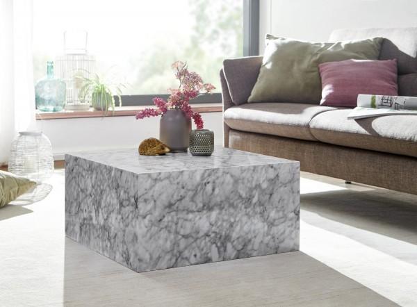 Wohnling Couchtisch MONOBLOC 60x60 cm Hochglanz mit Marmor Optik Weiß