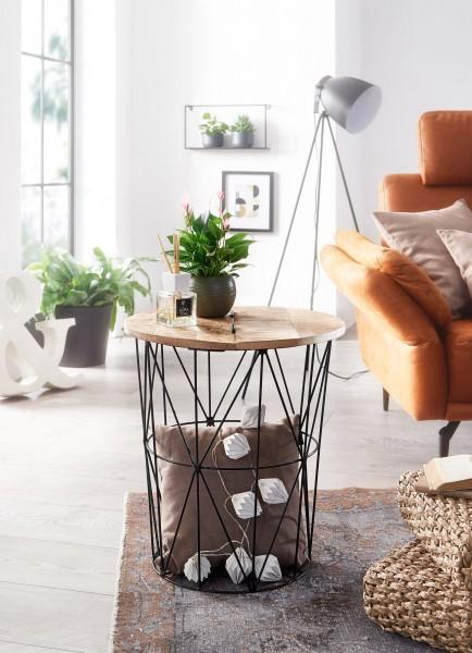 Wohnling Beistelltisch Mango Massivholz Metall 49x55x49 cm Industrial Style Rund