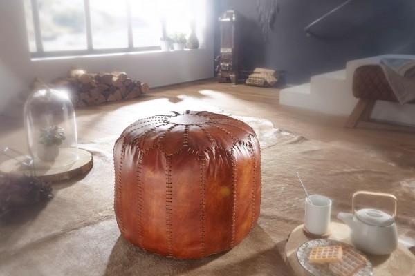 Wohnling Sitzhocker Echtleder Braun 52 x 40 x 52 cm Ottomane Wohnzimmer