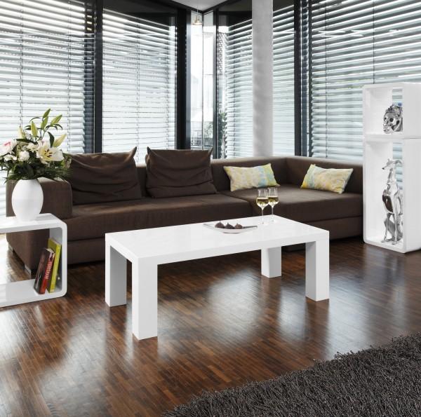 Moderner Couchtisch rechteckig 120x60x40 cm weiß - Hochglanz Lack