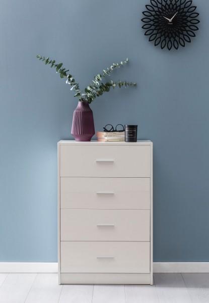 WOHNLING Design Sideboard WL5.864 Weiß Hochglanz 60x90x30 cm Anrichte Holz Modern | Schmale Schublad