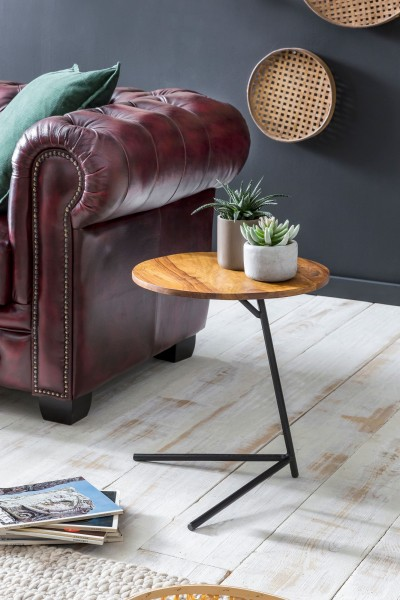 WOHNLING Designer Beistelltisch WL5.657 40x46x40cm WL5.657 Sheesham Holz Metall Couchtisch | Industr