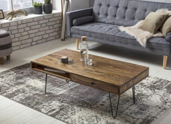 WOHNLING Couchtisch BAGLI Massiv-Holz Sheesham 120 cm breit Wohnzimmer-Tisch Design Metallbeine