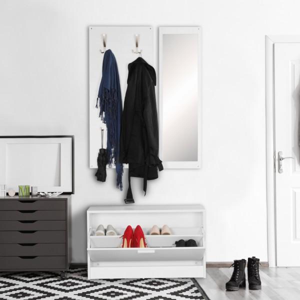 WOHNLING Wand-Garderobe mit Spiegel & Schuhschrank Spanplatte weiß