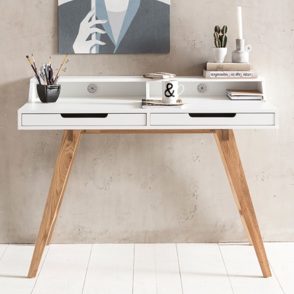 WOHNLING Schreibtisch SKANDI 110 cm skandinavisch weiß matt mit Eiche-Beinen