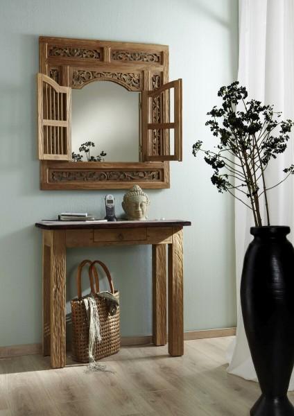 SIT Möbel Wand-Spiegel Seadrift mit 2 Flügeltüren | Teak-Holz natur | B 80 cm |