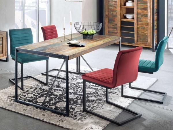 Sit-Möbel Esstisch 165 cm BALI - aus recyceltem Altholz, bunt, Altmetall-Gestell antikschwarz,