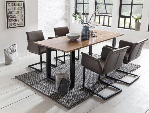 SalesFever Essgruppe 5-tlg. 160 x 85 cm Baumkante-Esstisch Akazie, 4x Stühle