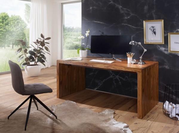 WOHNLING Schreibtisch BOHA Massiv-Holz Sheesham Computertisch 200 cm breit Echtholz Design Ablage