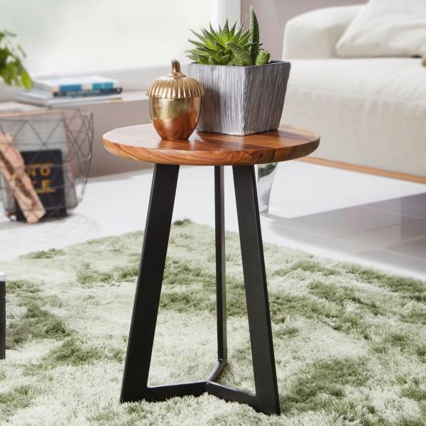 WOHNLING Beistelltisch 35 x 37 x 35 cm WL5.665 Sheesham Holz Metall Couchtisch | Industrial Style