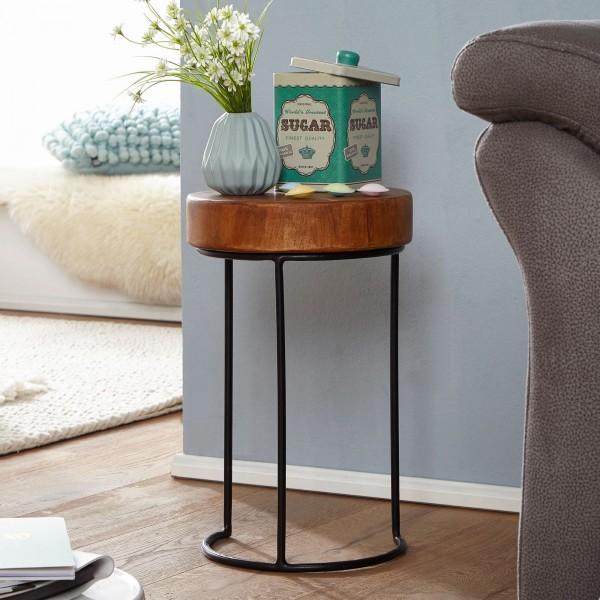 WOHNLING Beistelltisch AKOLA Massiv-Holz Sheesham Wohnzimmer-Tisch Metallbeine Landhaus-Stil
