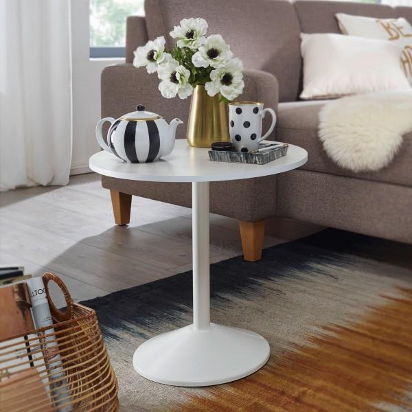 WOHNLING Design Beistelltisch Weiß Holz Optik Rund Ø 48cm | Kleiner Couchtisch | Moderner Wohnzimmer