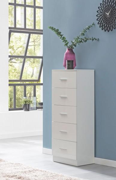 WOHNLING Design Sideboard WL5.859 Weiß Hochglanz 41x108x30 cm Anrichte Holz Modern | Schmale Schubla