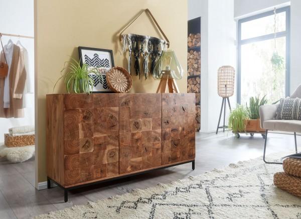 Wohnling Sideboard 132 cm Akazie Massivholz / Metall Anrichte 3 Türen
