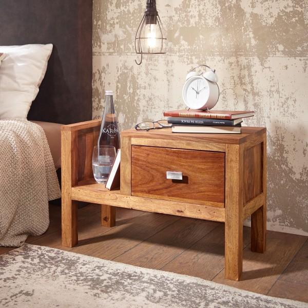 WOHNLING Nachttisch 40 cm hoch Massiv-Holz Sheesham Schublade mit Zeitungsablag