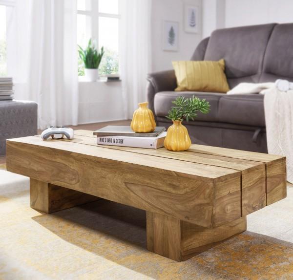 WOHNLING Couchtisch 120cm Massiv-Holz Akazie Design