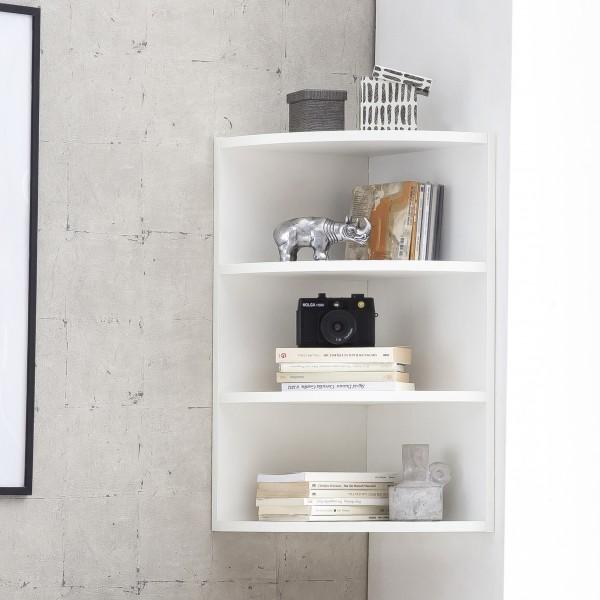 WOHNLING Eckregal Weiß 30 x 60 x 30 cm WL5.843 Holz Wandregal Eck Hängeregal
