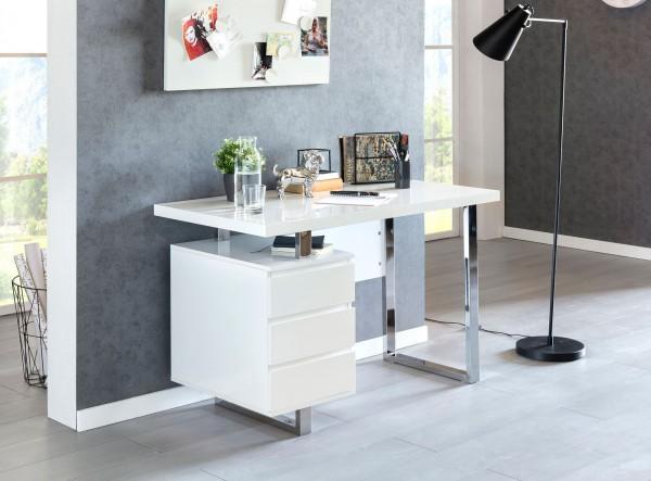 WOHNLING Design Schreibtisch PATTY 115x60x76 cm Groß Weiß Hochglanz Computertisch   Bürotisch 115 cm
