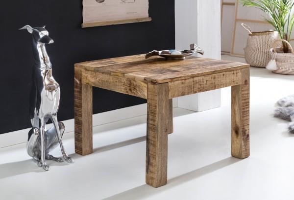 WOHNLING Couchtisch RUSTICA 60 x 60 x 47 cm Massiv-Holz Mango Natur | Landhaus-Stil Wohnzimmertisch