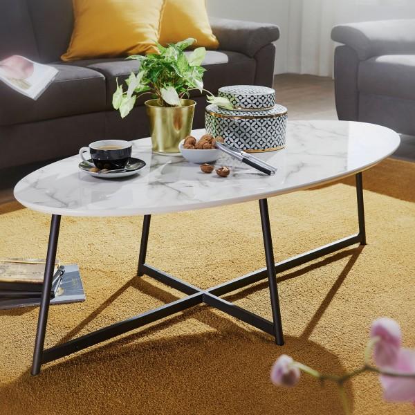 WOHNLING Design Couchtisch Oval 120x60 cm mit Marmor Optik Weiß   Wohnzimmertisch mit Metall-Beine