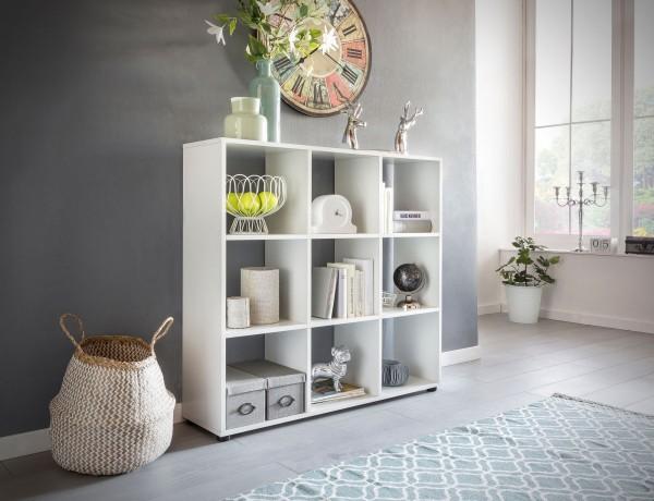WOHNLING Design Bücherregal ZARA mit 9 Fächern Weiß 108 x 104 x 29 cm | Standregal Holz Regal