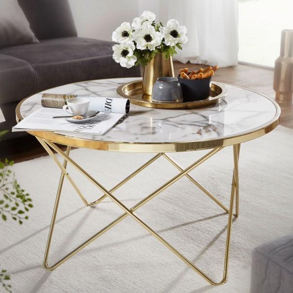 WOHNLING Design Couchtisch Marmor Optik Weiß Rund Ø 85 cm Gold Metall-Gestell
