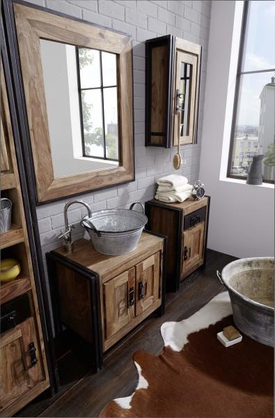 SIT Möbel Wand-Spiegel aus Akazie natur | Altmetall antikschwarz | B 82 x T 3 x H 97 cm | 09290-01 |
