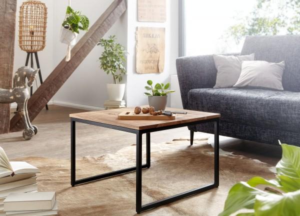 Wohnling Couchtisch 60 cm Akazie Massivholz Industrial Design