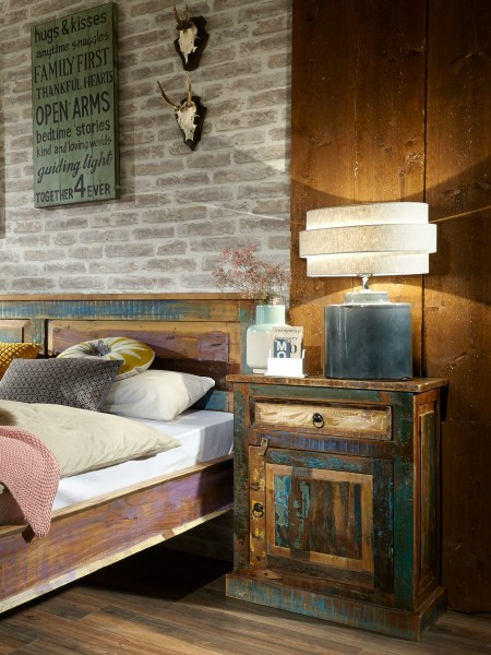 SIT Möbel Kommode Riverboat | 1 Schublade, 1 Tür | Altholz lackiert bunt, 55 cm
