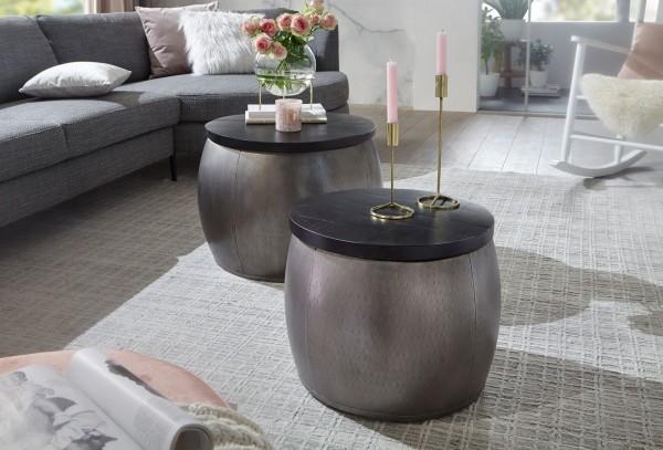 Wohnling Design Couchtisch 2er Set Mango Massivholz Satztisch Rund Silber | Wohnzimmertisch Alu